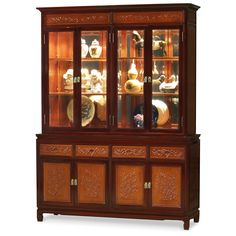 Rosewood Flower And Bird Motif China Cabinet