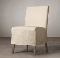 Parsons Slipcovered Short Skirt Side Chair. Get 6 and pair with 2 captains chair's.