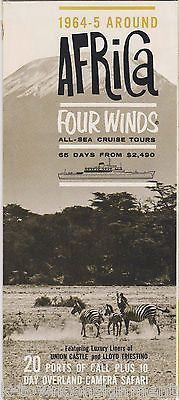 AFRICA FOUR WINDS CRUISE SHIPS VINTAGE 1960s GRAPHIC AD TRAVEL BROCHURE