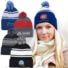 99d5008748d Acrylic rib knit beanie featuring a two-tone pom pom on top. Features cuff  that folds approximately Stretches to fit most adult head sizes.