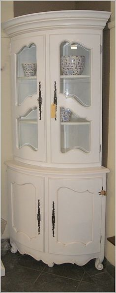 Unique French Country Corner Cabinet