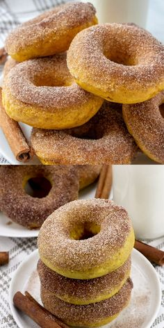 These Pumpkin Donuts are easy and delicious, done in under 20 minutes they are the perfect addition to your breakfast or dessert menu. With a cinnamon sugar topping, you can't go wrong with this delicious pumpkin treat! Pumpkin Donut Recipe Baked, Baked Donut Recipes, Baked Donuts, Baked Pumpkin, Pumpkin Recipes, Baking Recipes, Dessert Recipes, Healthy Pumpkin, Donuts Donuts