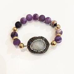 Bracelets By Vila Veloni Purple Pellets And White Modern Gemstone