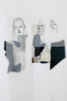 Fashion Portfolio layout - fashion sketchbook; fashion collage; fashion illustration; fashion design theme development // Louise Nutt