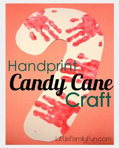 Candy Cane craft for kids. I would have dad cut out candy cane shaped wood cut and have family hand/feet prints on it!! Super cute and fun:)