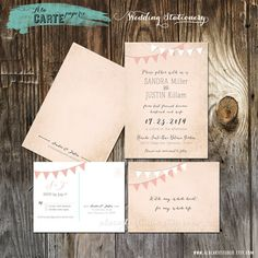 Bunting Flags Whimsical  Wedding Invitation and RSVP Cards