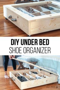 Such a great idea! DIY under bed shoe storage idea! Full how to build tutorial including woodworking plans and video tutorial. Great for organizing shoes in small spaces and bedrooms or closets! storage DIY Under Bed Shoe Organizer Under Bed Organization, Under Bed Shoe Storage, Extra Storage, Underbed Storage Ideas, Shoe Storage Ideas For Small Spaces, Shoe Storage Ideas Bedroom, Closet Organization, Diy Shoe Storage, Storage For Shoes