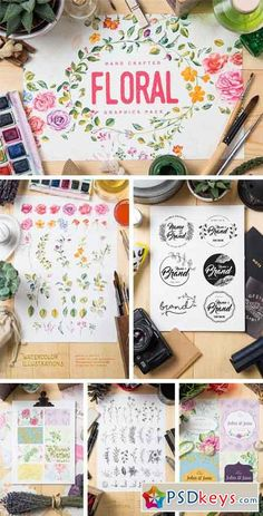 Floral Graphics Pack 646561 With this file you will able to create awesome and unique greeting cards, logos and any type of floral designs. Both vector and watercolor illustrations included Watercolor Illustration, Floral Design, Greeting Cards, Photoshop, Packing, Graphics, Vector Stock, Crafts, Free
