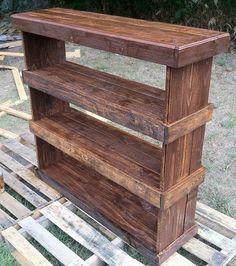 Rustic reclaimed pallet furniture shoe shelf book by Kustomwood by mamie