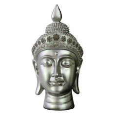 Urban Trends Collection Resin Buddha Head Sculpture with Floral Head Gear - Gloss Cream Silver - 33415