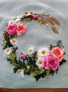 """Ribbon Embroidery This exquisite silk ribbon embroidered """"C"""" is for my beautiful sister Christine Greenholtz.Silk Ribbon Embroidery This exquisite silk ribbon embroidered """"C"""" is for my beautiful sister Christine Greenholtz. Embroidery Designs, Ribbon Embroidery Tutorial, Silk Ribbon Embroidery, Crewel Embroidery, Embroidery Patterns, Embroidery Thread, Embroidery Supplies, Embroidery Transfers, Mexican Embroidery"""
