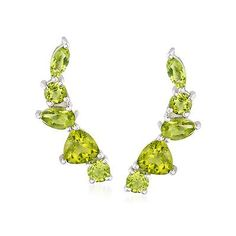 4.40 ct. t.w. Peridot Ear Crawlers in Sterling Silver - on #sale 62% off @ #RossSimons