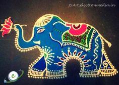Free Hand Rangoli - Elephant Rangoli Design ~ Electron Media Art