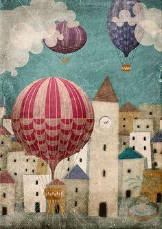 GLOBO AEROSTATICO, Ilustración libro vintage - Buscar con Google
