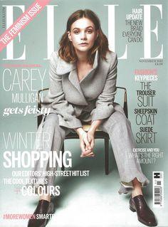 Carey Mulligan wears Allison Bryan Paper Cigar Ring on the cover of Elle UK november 2015 issue.