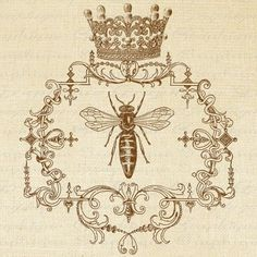 etherealthoughts:  (via QUEEN BEE Ornate Frame CROWN Digital Collage Sheet Download Burlap Fa…)