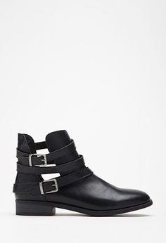 Strappy Faux Leather Booties | Forever 21 - 2000115297