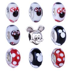 New Red & White Mouse Head Boy & Girl Charms European Fashion DIY Beads Silver Alloy Bead Fit Pandora Bracelets & Necklace
