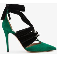 Valentino Contrast Pointed Pumps (€870) ❤ liked on Polyvore featuring shoes, pumps, high heel shoes, high heel pumps, black high heel pumps, pointed-toe pumps and pointy-toe pumps