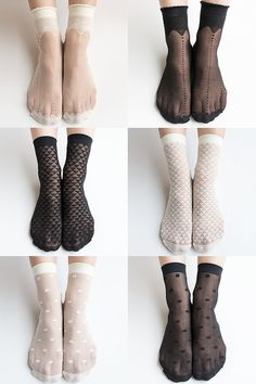 Women New Hezwagarcia Essential Mush Have Super Sheer Crown Polka Dot Triangle Pattern See Through Nylon Black Ivory 6 Stocking Socks Set
