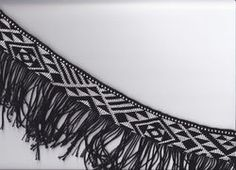 This is a black and white taniko design. I really like the different contemporary designed triangles. and it really suits for a korowai Flax Weaving, Basket Weaving, Maori Patterns, Finger Weaving, Maori Designs, Maori Art, Kiwiana, Weaving Patterns, Creative Inspiration