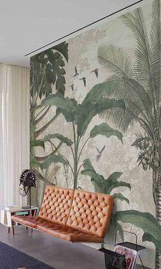 Muance Wallpaper – Page 3 – Prime Walls Canada Botanical Wallpaper, Print Wallpaper, Home Wallpaper, Wallpaper Designs For Walls, Tropical Wallpaper, Wallpaper Panels, Mural Art, Wall Murals, Interior Tropical