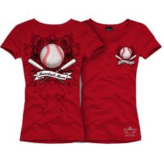 "Red Short Sleeve BASEBALL MOM T-Shirts       Show support for your favorite teams     ""Baseball Mom""     Round Neck     Shortsleeve fitted cotton lycra t-shirt     Baseball mom design on front & back with rhinestones"