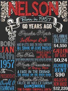 1957 verjaardag bord dingen gebeuren 60 jaar door CustomPrintablesNY