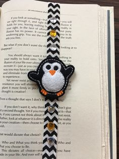 Adorable Penguin with gems planner band journal accessories black and white penguin gems bookmark Bible band planner accessories