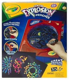 Binney and Smith Crayola Color Explosion Designer by Crayola. $18.99. Great Designs every time - No two are the same. Unit fits directly over the Color Explosion paper. Uses standard color explosion paper white or black. Indexing lever makes it easy to create. Designs are unique every time!. From the Manufacturer                Crayola Color Explosion Designer lets kids crank up the fun and create unique, surprising designs that burst from the paper with the twist of a dial.  Us...