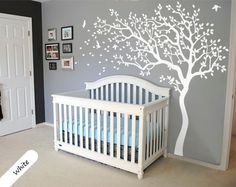 White Tree Wall Decal Huge Tree wall decal Wall Mural Stickers Nursery Tree and Birds Wall Art Tattoo Nature Wall Decals Decor - 047 by StudioQuee on Etsy https://www.etsy.com/listing/215735435/white-tree-wall-decal-huge-tree-wall