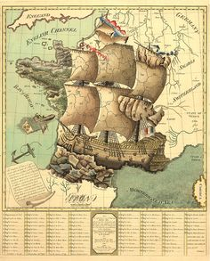 Map of france represented under the form of a ship