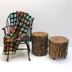 Rustic Cabin Stump Table Stool with Bark by realwoodworks1 on Etsy