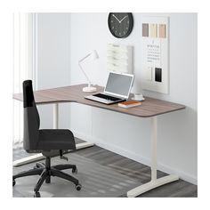 BEKANT Corner desk-left - gray/white - IKEA