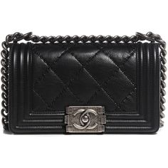 CHANEL Calfskin Double Stitch Small Boy Flap Black ❤ liked on Polyvore featuring bags, handbags, shoulder bags, chain strap purse, chanel shoulder bag, black quilted shoulder bag, chanel purses and quilted purse