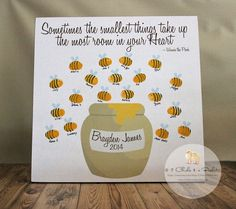 Fingerprint Bee Baby Shower Guest Book, Baby Shower Guest Book Alternative, Winnie The Pooh Baby Shower