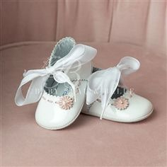 White Patent Tie Mary Janes Girl Shoes | Christening/Baptism Collection - Designer Gowns & Shoes