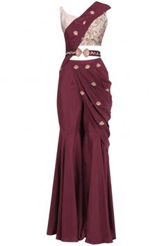 Kazmi India Oxblood Embroidered Pre Stitched Sharara Saree with Belt Party Wear Indian Dresses, Designer Party Wear Dresses, Indian Gowns Dresses, Dress Indian Style, Indian Fashion Dresses, Indian Wedding Outfits, Indian Designer Outfits, Indian Outfits, Tribal Fusion