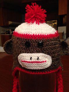 Sock monkey crochet hat on Etsy, $20.00