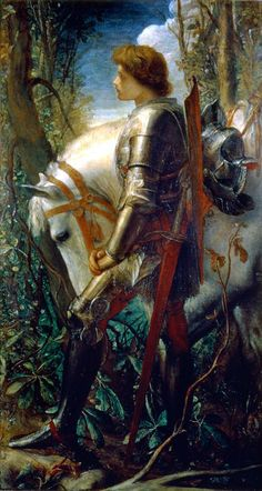 "George Frederick Watts ""Sir Galahad"" Oil on canvas Symbolism Located in the Harvard Arts Museum, Cambridge, Massatchuestts Sir Galahad, in Arthurian legend, is a knight of King. Roi Arthur, King Arthur, Medieval Art, Medieval Fantasy, Knight Medieval, Courtly Love, Knight In Shining Armor, Pre Raphaelite, Victorian Art"