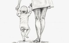 22 Ideas For Baby Drawing Sketches Mom Mommy Tattoos, Baby Tattoos, Drawing Sketches, Pencil Drawings, Art Drawings, Main Image, Arte Fashion, Mother Art, Baby Drawing