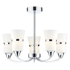 The Dublin by Dar is a fresh and modern LED Semi Flush Ceiling Fitting featuring five tall opal glass shades with decorative brushed metal bands and a Polished Chrome frame. Dar