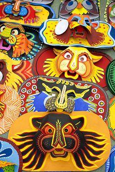 Happy Bengali New Year, Bengali Art, Tiger Mask, New Year Art, Spider Art, Tiger Crafts, Ganesha Art, Indian Folk Art, New Years Decorations