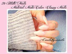 Nude Natural Stiletto Nails,20xFullSet,False Nails,Press on Nails+glue