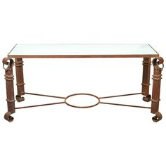 Wrought Iron Console | See more antique and modern Console Tables at https://www.1stdibs.com/furniture/tables/console-tables