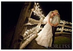 country wedding. love the fence with christmas lights...Beautiful for reception