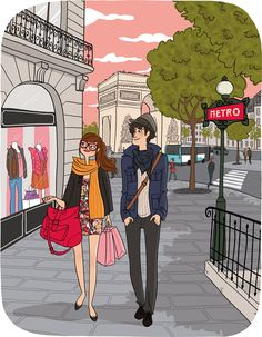 Shopping in Paris Illustration Parisienne, Illustration Mignonne, Couple Illustration, Character Illustration, Illustration Art, My Little Paris, Paris Girl, Paris Shopping, Illustrations And Posters