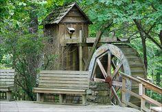 So cool! Water Wheel at the Blue Spring Heritage Center near Eureka Springs, Arkansas. I used to live near Eureka Springs!