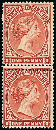 Falkland Islands: reddish chestnut, May 1892 printing, mint vertical pair showing double line of horizontal perforations between, the lower stamp with trivial bend. British Overseas Territories, Commonwealth, Stamp Collecting, Postage Stamps, Postcards, Vintage World Maps, Coins, House, Ideas