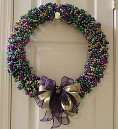 Mardi Gras wreath - love this!!